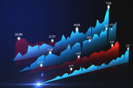 Financial and stock market concept with rows of blue and red forex market charts and graphs.