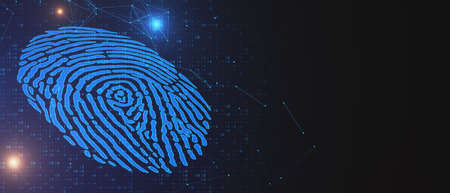 Abstract glowing blue fingerprint on dark background with mock up place. Biometrics and id concept. 3D Rendering