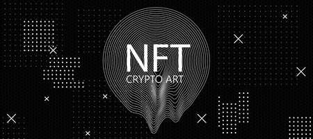 Non-fungible tokens concept with NFT crypto art inscription