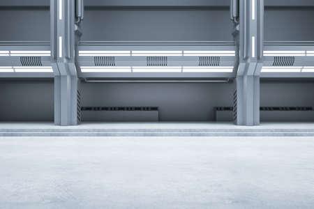 Bright concrete futuristic interior with illuminated walls. Exhibition center and future concept. 3D Rendering 免版税图像