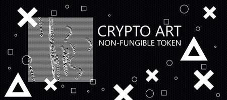 Creative dark crypto art background. Non-fungible token concept. 3D Rendering