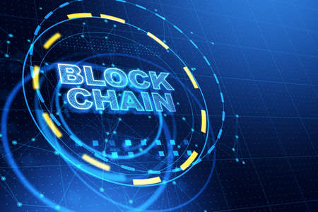Block chain network concept with glowing blue inscription in yellow and light blue rings