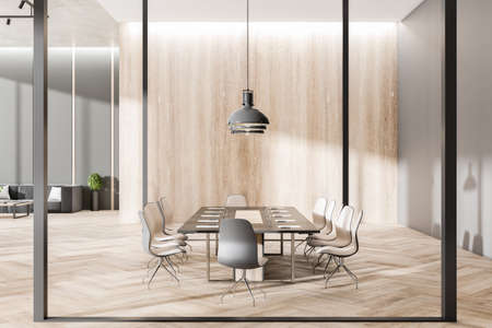Modern concrete and wooden meeting room interior with furniture, equipment and glass partition. 3D Rendering 免版税图像