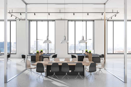 Stylish sunny meeting room with glass walls, modern wooden conference table and black chairs around in light interior design