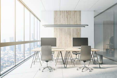 Modern coworking office interior with city view 免版税图像