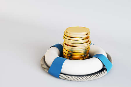 Assets wealth and money saving concept with golden coins in white lifebuoy 免版税图像