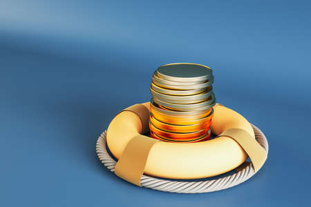 Money saving and money investment protection concept with stack of metallic coins in yellow lifebuoy