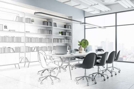 New office interior sketch. Repairs, refurbishment, before and after concept. 3D Rendering
