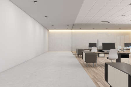 White concrete coworking office interior with daylight, furniture and equipment. 3D Rendering