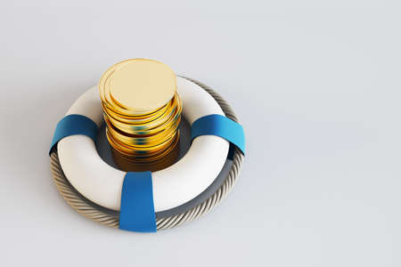 Savings insurance concept with golden coins in white lifebuoy with lifebelt