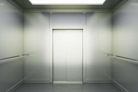 Abstract light hall with light blank elevator doors 免版税图像