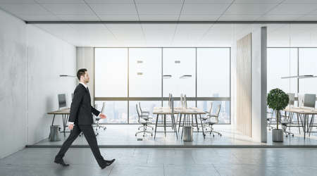 Businessman walking in modern coworking office interior with city view
