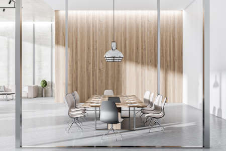 Modern concrete and wooden conference room interior with furniture, equipment and glass partition. 3D Rendering
