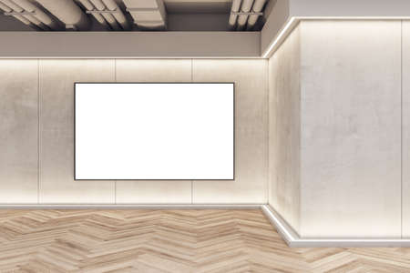 Modern exhibition space concrete interior with blank banner frame on wall and wooden flooring. Mock up, 3D Rendering 免版税图像