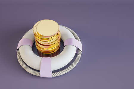 Stability and protection concept with golden coins stack in lifebuoy 免版税图像