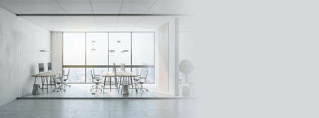 Sunny stylish coworking office with eco-design project 免版税图像