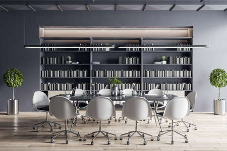 Modern meeting room interior with furniture, bookcase.
