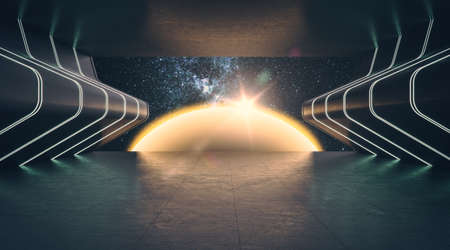 Abstract cosmos exhibition in dark futuristic interior. 免版税图像