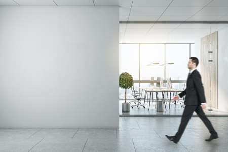Businessman walking in modern coworking office interior with empty mockup place