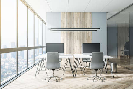 Bright coworking office interior with city view 免版税图像