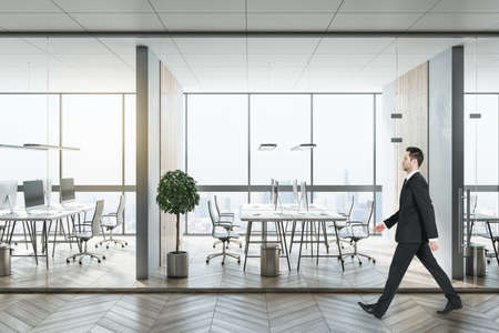 Businessperson walking in modern coworking office interior with city view