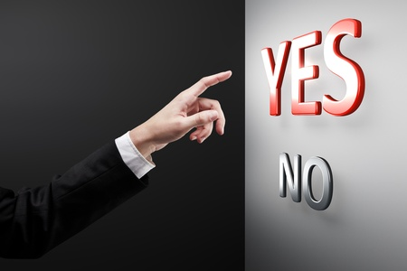 yes no: Hand and buttons YesNo Stock Photo