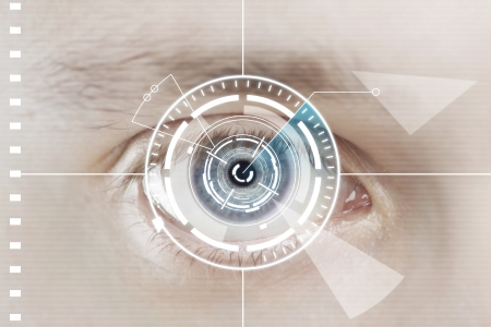 futuristic eye: Technology scan eye for security or identification Stock Photo