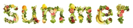 The word SUMMER made of  fruits and vegetables on a white background Stock Photo - 10253628