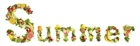 The word SUMMER made of  fruits and vegetables on a white background photo