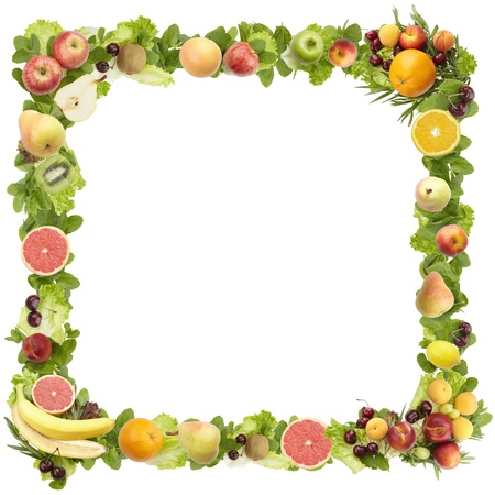 cherry varieties: The frame made of  fruits  on a white background