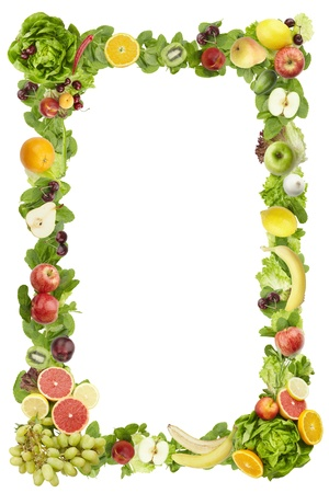cherry varieties: The frame made of  fruits and vegetables on a white background