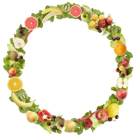 The round frame made of  fruits and vegetables. Isolated on a white background