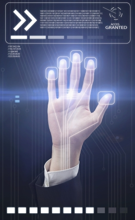 Technology scan  hand for security or identification.Hand with scanner and computer interface Stock Photo - 10253623