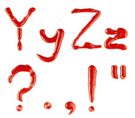 point d interrogation:  lettres et signes de ketchup sur fond blanc  Banque d'images