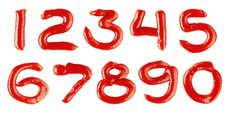 numbers made of ketchup on white background photo