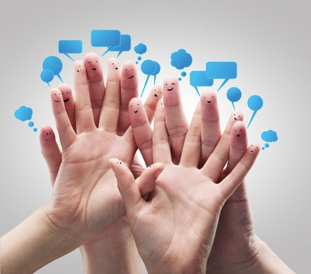 warmth: Happy group of finger smileys with social chat sign and speech bubbles