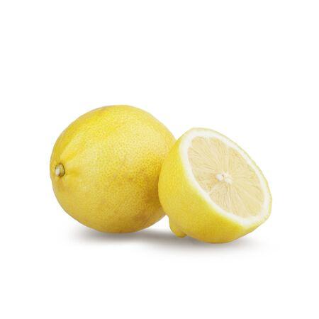 citrous: Lemon and half a lemon isolated on white background