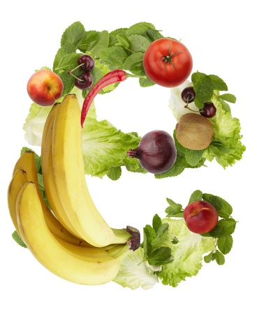 Fruit and vegetable alphabet - letter e. Isolated on a white background photo