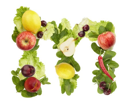 Fruit and vegetable alphabet - letter m. Isolated on a white background photo