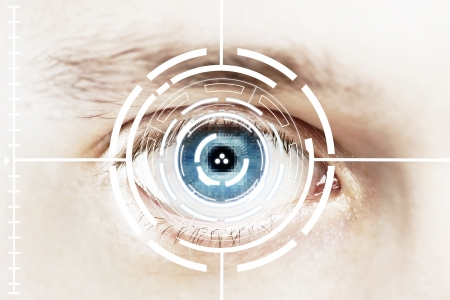 verification: Technology scan eye for security or identification.Eye with scanner and computer interface