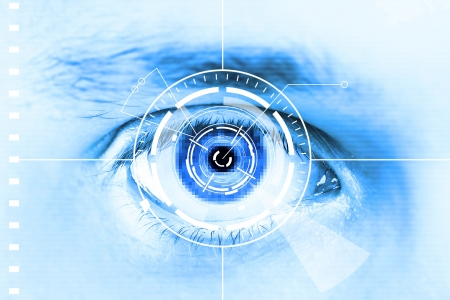 Technology scan eye for security or identification.Eye with scanner and computer interface Stock Photo - 10306352