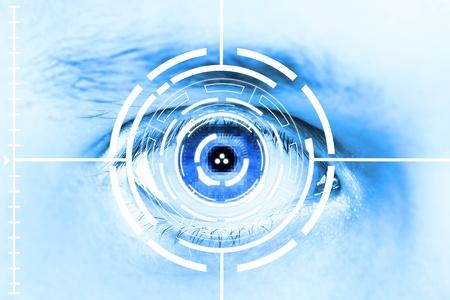 Technologie scan oog voor beveiliging of identification.Eye met scanner en computer interface