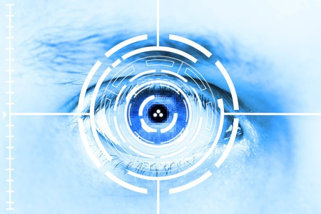 laser focus: Technology scan eye for security or identification.Eye with scanner and computer interface