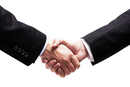 negotiating: Handshake - Hand holding on white background