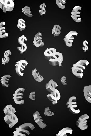 Evro and Dollar signs rain.Isolated on a black background photo