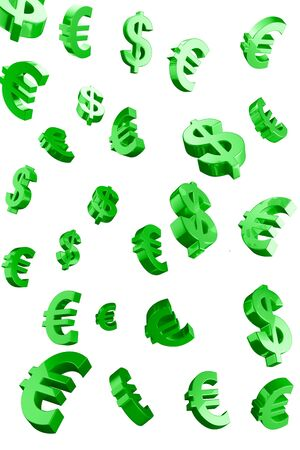Green Evro and Dollar signs rain.Isolated on a white background photo