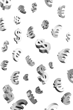 Evro and Dollar signs rain.Isolated on a white background photo