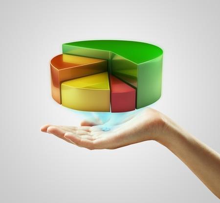 graficas de pastel: Mano de la presentación de un botón gráfico. Sobre un fondo gris