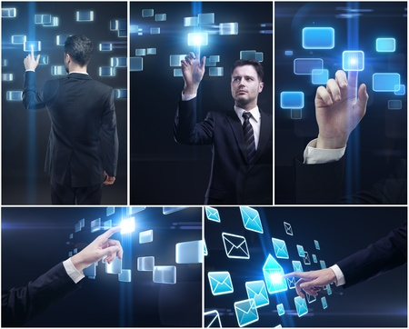 Set of business man and hands pushing a button on a touch screen interface.  Man pressing a envelope touchscreen button. Stock Photo - 10940500