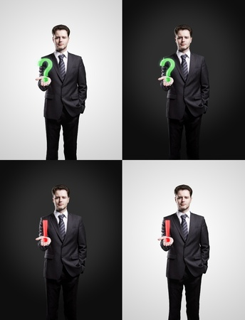 Set of young businessmans with a question and exclamation marks on his hand Stock Photo - 10940494